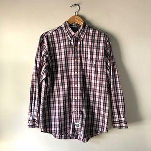 Izod Tartan Plaid Long Sleeve Button Down Shirt